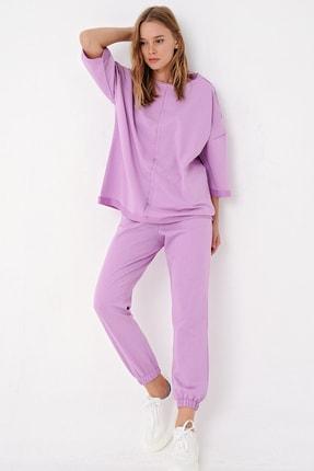 Trend Alaçatı Stili Kadın Lila Önü Dikişli Eşofman Takımı ALC-X4925 0