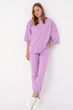 Trend Alaçatı Stili Kadın Lila Önü Dikişli Eşofman Takımı ALC-X4925 1