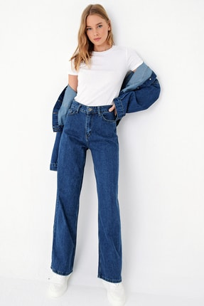 Trend Alaçatı Stili Kadın Mavi Yüksek Bel İspanyol Paça Jean ALC-X5004 0
