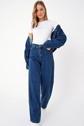 Trend Alaçatı Stili Kadın Mavi Yüksek Bel İspanyol Paça Jean ALC-X5004 2