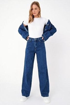 Trend Alaçatı Stili Kadın Mavi Yüksek Bel İspanyol Paça Jean ALC-X5004 3