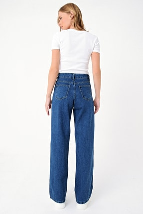 Trend Alaçatı Stili Kadın Mavi Yüksek Bel İspanyol Paça Jean ALC-X5004 4