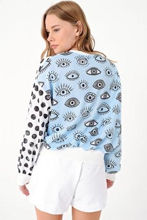 Trend Alaçatı Stili Kadın Mavi Dıgıtal Baskılı Sweatshırt MDA-1045 3