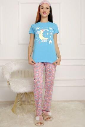 BİLDİKS Kadın Mavi Lavanta Pijama Takımı 0