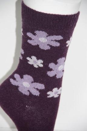 Pamela Kadın Mor Yün Çiçek Desenli Soket Çorap 6'lı 1