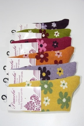 Pamela Kadın Mor Yün Çiçek Desenli Soket Çorap 6'lı 2