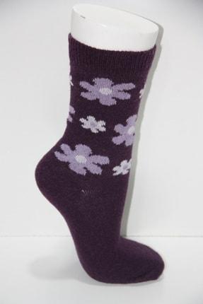 Pamela Kadın Mor Yün Çiçek Desenli Soket Çorap 6'lı 3