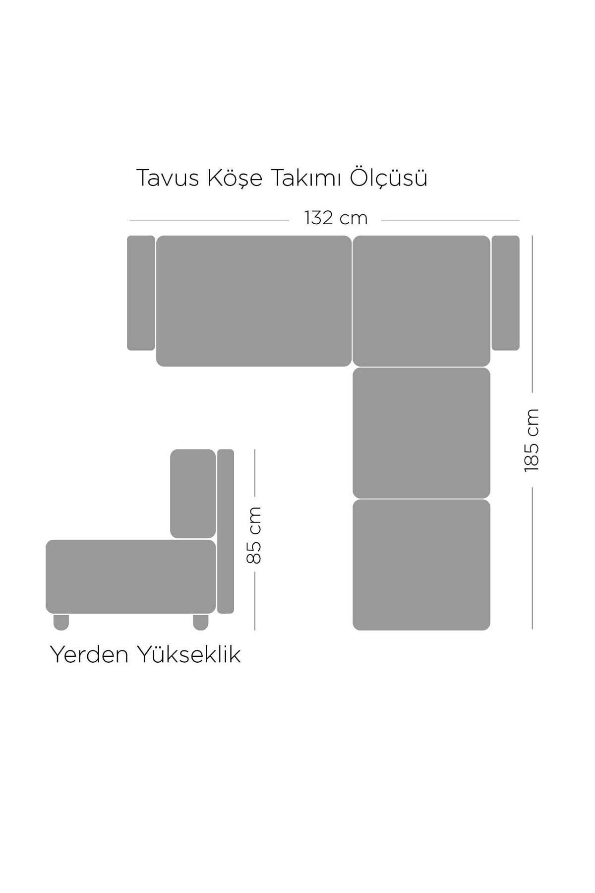 Gaga Mobilya Tavus Köşe Takımı Lacivert-bej 1