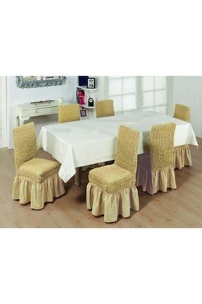 EVİBU Bürümcük Sandalye Giydirme Örtüsü Sütlü Kahve Renk 0