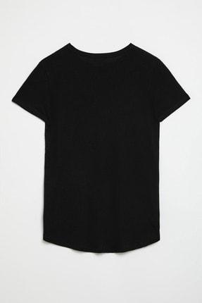 GRIMELANGE SAMANTHA Kadın Siyah Comfort Fit Arkası Uzun T-Shirt 1