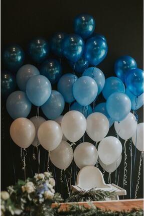 MERİ PARTİ 100 Adet Mavi-beyaz-lacivert Metalik Balon Ve Balon Zinciri Konsept Balon Parti Süslemeleri 0
