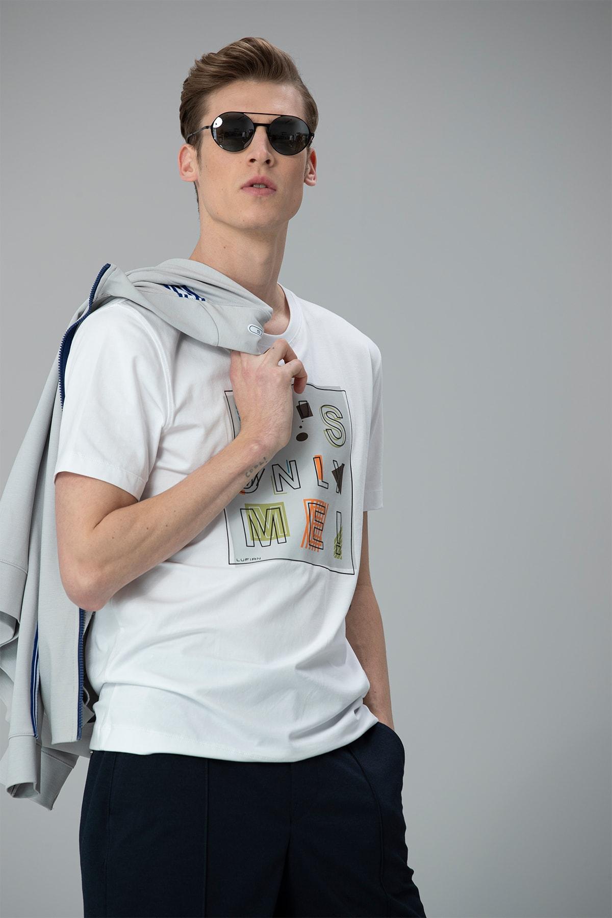 Lufian Etax Modern Grafik T- Shirt Beyaz 1