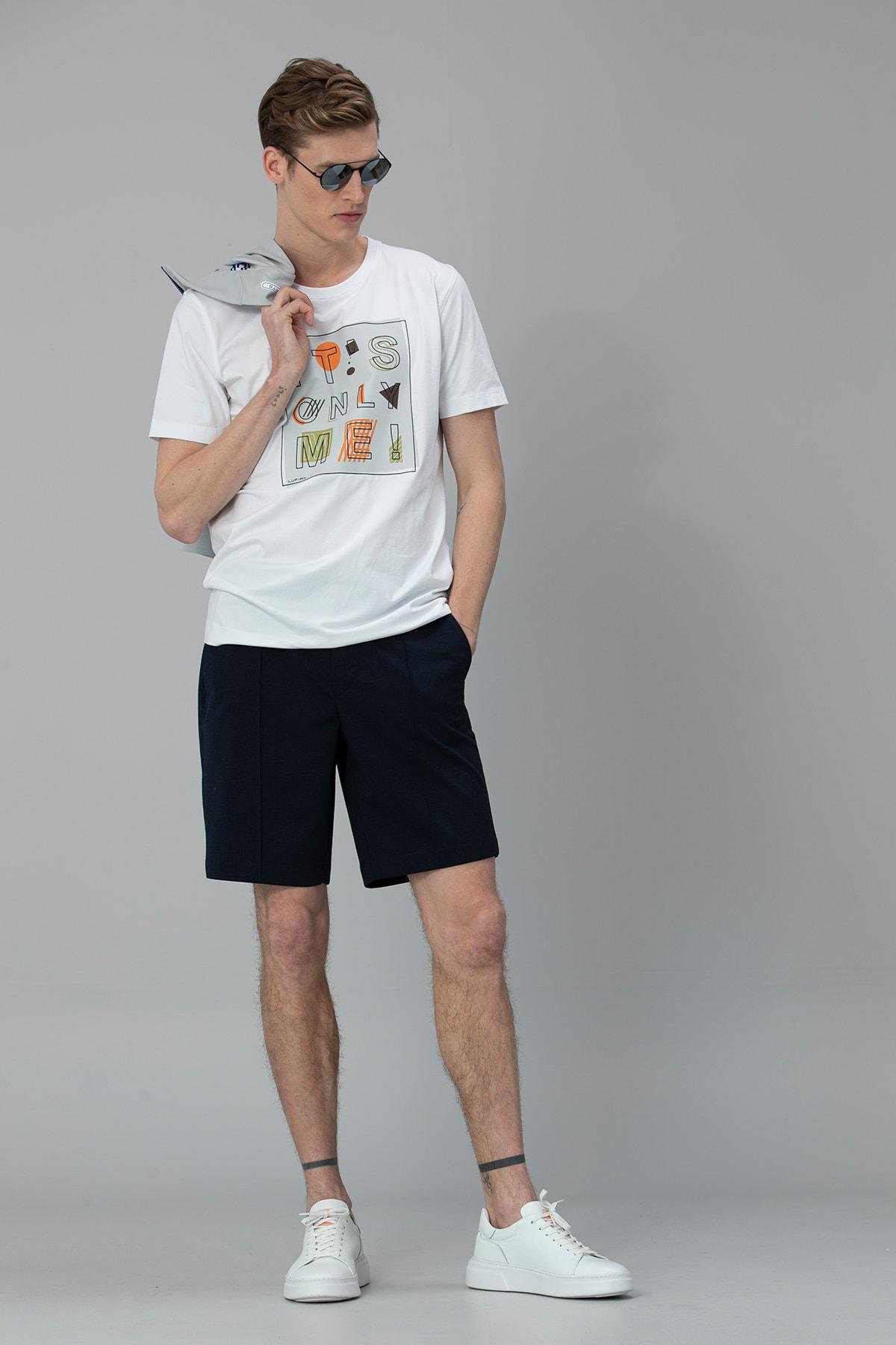 Lufian Etax Modern Grafik T- Shirt Beyaz 2