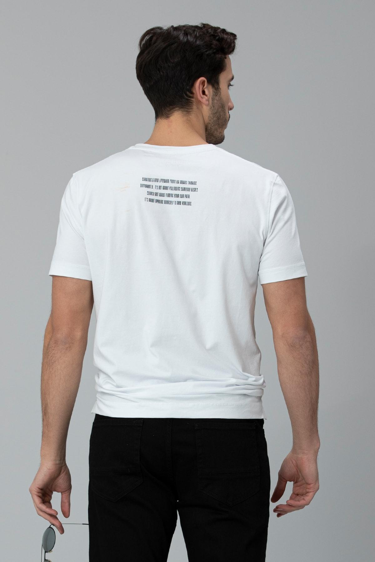 Lufian Rıck Modern Grafik T- Shirt Beyaz 3