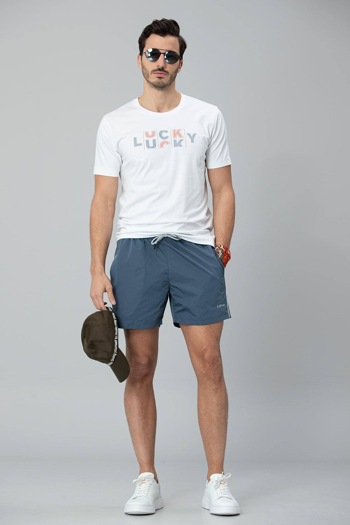 Lufian Lukki Modern Grafik T- Shirt Beyaz 0