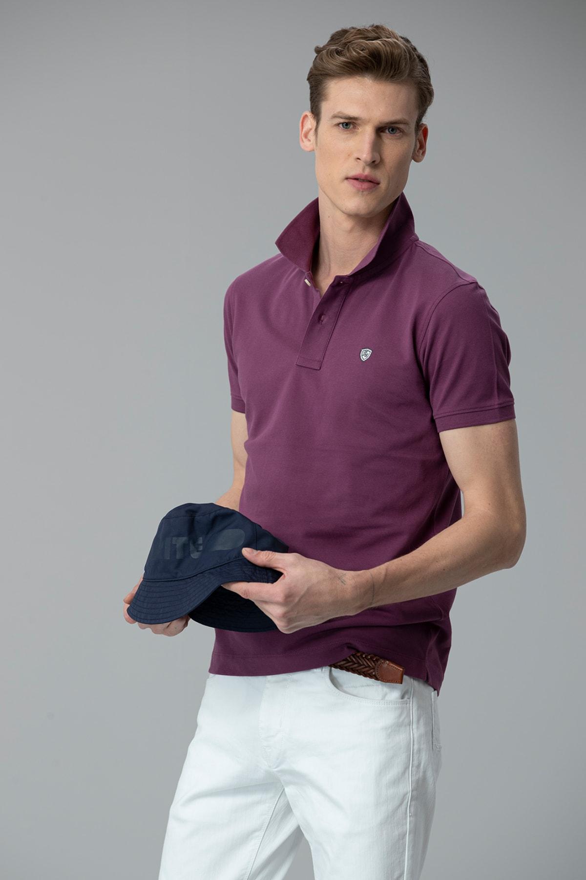 Lufian Laon Spor Polo T- Shirt Mor 2
