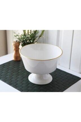 Gönül Porselen Beyaz Gold Ayaklı Seramik Meyvelik Ø:22.5cm H:16.5cm 2803 0