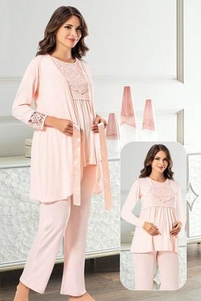 TAMPAP Kadın Pembe Lohusa Pijama Gecelik Takımı 1