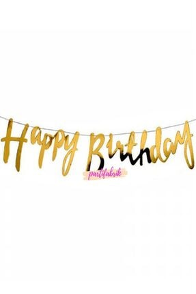 Partifabrik Happy Birthday Italik Gold Yazı Süs 0