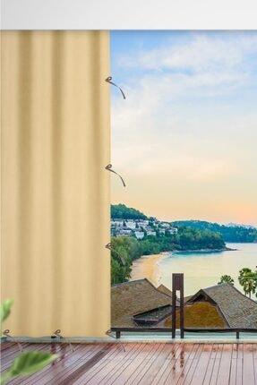 ALTINPAMUK 230x250 Balkon Perdesi Balkon Brandası Koyu Krem Bağcıklı 0