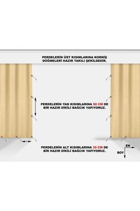 ALTINPAMUK 230x250 Balkon Perdesi Balkon Brandası Koyu Krem Bağcıklı 2