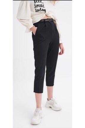 Quzu Kadın Siyah Kumaş Kemerli Pantolon 1