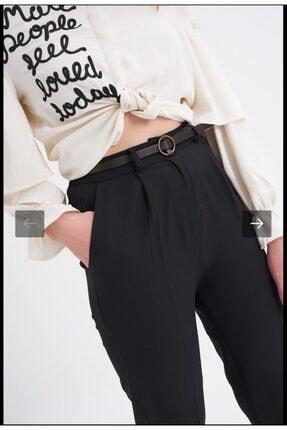Quzu Kadın Siyah Kumaş Kemerli Pantolon 2