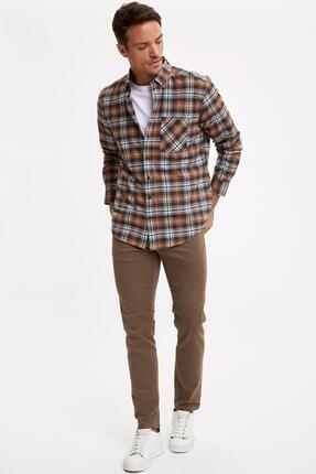 Defacto Erkek Kahverengi Ekose Uzun Kollu Modern Fit Gömlek 1