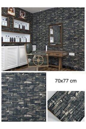 Renkli Duvarlar Nw60 Koyu Gri Taş Desen Kendinden Yapışkanlı Duvar Paneli 0
