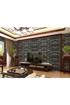Renkli Duvarlar Nw60 Koyu Gri Taş Desen Kendinden Yapışkanlı Duvar Paneli 2