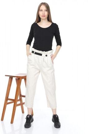 Giysimburada Kadın Ekru Beli Ayarlı Pantolon 2