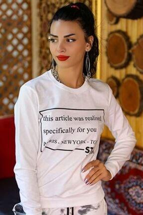 BİLDİKS Kadın Beyaz Yazılı Iki Iplik Sweatshirt - 4048.102. - Y.s 1