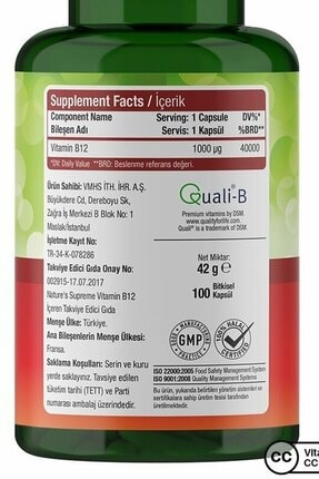 Natures Supreme Vitamin B12 1000 Mcg 100 Kapsül 4