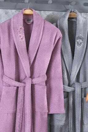 Zeynep Tekstil Arya 4 Parça Nakışlı %100 Pamuklu Bornoz Seti 1
