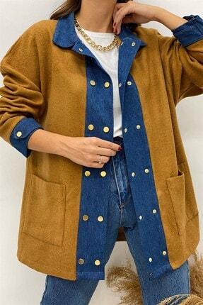 BEHİCE SAĞLAM Kadın Kahverengi Kot Detay Kaşe Ceket 0