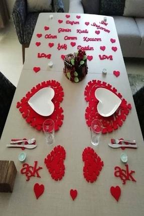 PARTİ SEPETİ 25 Parça Romantik Doğum Günü Masa Süslemesi Keçe Seti Keçe Set 1