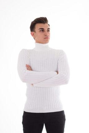 Çanta Deryası Erkek Beyaz Fitilli Slimfit Boğazlı Kazak 0
