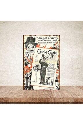 TAKIFİX Charlie Chaplin 20-30 Cm Retro Ahşap Poster 0
