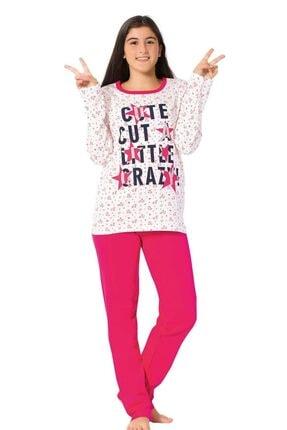 Arkk Genç Kız Pembe Ekru Uzun Kol Pijama Takımı 0