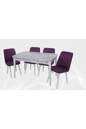 Lider Beyaz Mermer Desenli Dikdörtgen Açılabilir Yemek Masası 0