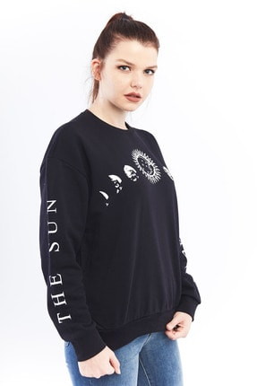 citycenterfashion Kadın Siyah Gezegen Sweatshirt Ctyabr8202 4