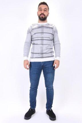 Twister Jeans Erkek Beyaz Siyah Bisiklet Yaka Triko Kazak 2