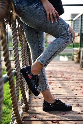 MİNAMİRA Kadın Siyah Baskılı Sneaker 0