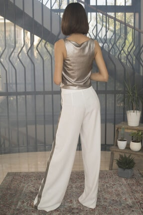OPIA FASHION Kadın Beyaz Parlak Şeritli Bol Paça Pantolon 2