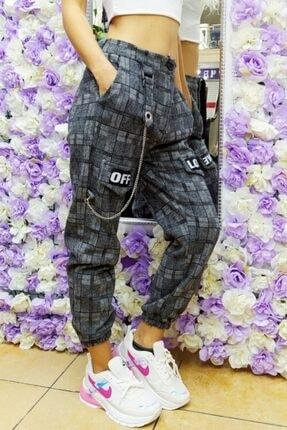 Fivi Butik Kadın Ekose Kumaş Off Love Pantolon 1