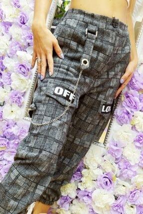 Fivi Butik Kadın Ekose Kumaş Off Love Pantolon 2