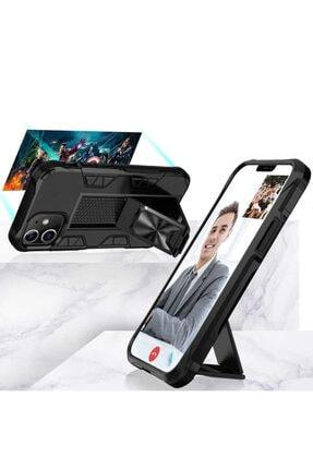 BizimGross Lacivert Apple Iphone 12 Pro 6.1 inç Zırh Yüzüklü Standlı Kılıf 1