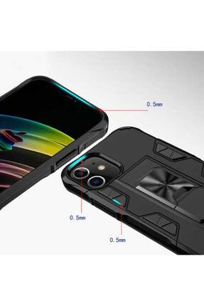BizimGross Lacivert Apple Iphone 12 Pro 6.1 inç Zırh Yüzüklü Standlı Kılıf 2