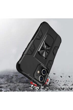 BizimGross Lacivert Apple Iphone 12 Pro 6.1 inç Zırh Yüzüklü Standlı Kılıf 4
