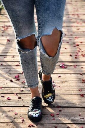 MİNAMİRA Siyah Kadın Baskılı Sneaker Spor Danger 1